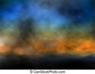 Dusk sky - Editable vector illustration of a dark sunset sky...