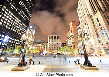 Old Montreal at night - Old Montreal street view with...