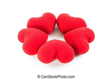 Red hearts in circle shape on white background