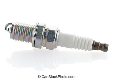 Spark-plug on white reflective background