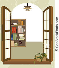 Bookshelf from window - This illustration is a common...