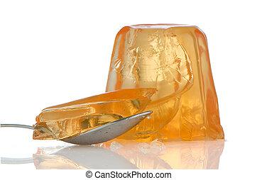 Orange gelatin - Delicious orange gelatin on a white...