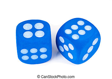 Two blue dice on white background.
