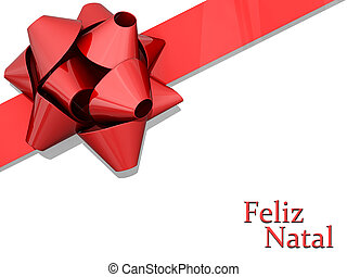 Red Bow Ribbon Merry Christmas Portuguese Language - Red Bow...
