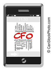 CFO Word Cloud Concept on Touchscreen Phone - CFO Word Cloud...