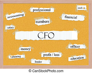 CFO Corkboard Word Concept with great terms such as...