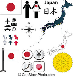 Japan map - Vector of Japan set with detailed country shape...
