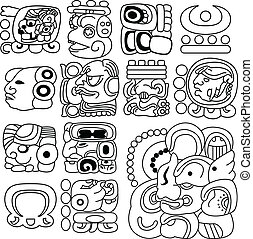 Mayan hieroglyphs - Vector image of ancient Mayan...