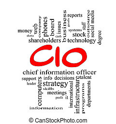 CIO Word Cloud Concept in red caps with great terms such as...
