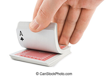 Hand and playing cards