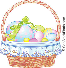 Easter Basket - Pretty Easter basket full of eggs