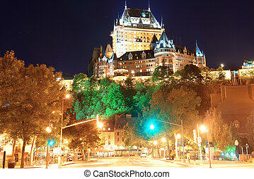 Quebec City Street view - Street view with Chateau Frontenac...