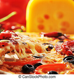 pizza with cheese - Tasty pizza and various vegetables close...