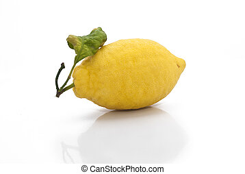 yellow sicilian fresh lemon isolated on a white background