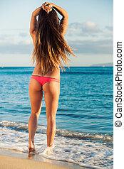 Beautiful young woman in sexy bikini - Beautiful young woman...