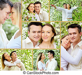 Togetherness - Collage of young couple among apple trees
