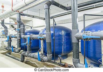 Pumping Station - Industrial Interior. Water Reservoirs And...