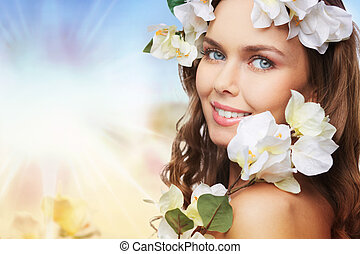 Sunny spring - Portrait of a springtime beauty with branches...