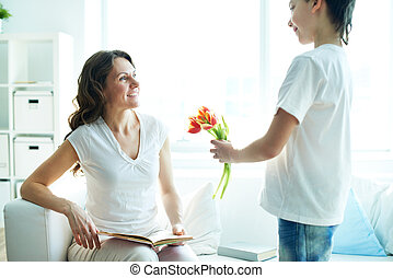 Happy mother?s day! - Cute lad with bunch of beautiful...