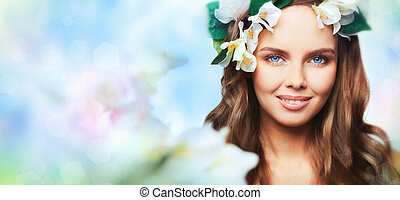 Spring portrait - Creative portrait of a gorgeous young...