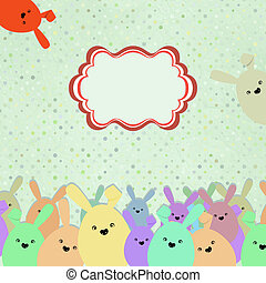 Card with colorful rabbits for life events EPS 8 - Card with...