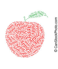 apple text collage Composed in the shape of apple