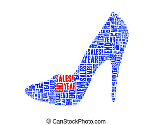 year end sales text collage Composed in the shape of high heel