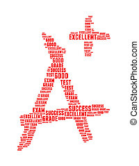 grade info text collage Composed in the shape of capital...