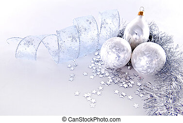silver Christmas decorations - beautiful silver seasonal...