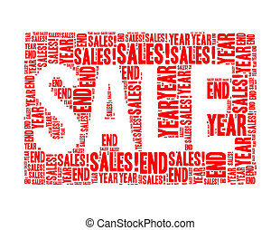 year end sales text collage Composed in the shape of sale...