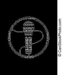 作曲された, コラージュ, テキスト, 形, カラオケ, マイクロフォン