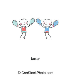 Boxers. Illustration.