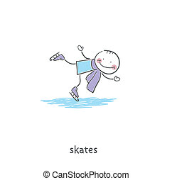 People skating on the ice. Illustration.