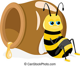 bee sitting about honey pot, vector - Vector illustration of...