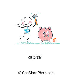 Man breaks piggy bank with a hammer. Illustration.