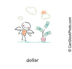 Money tree and angel. Illustration.