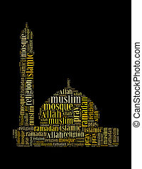 islamic info text collage Composed in the shape of mosque