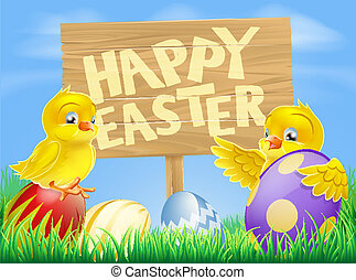 Easter birds and eggs with sign