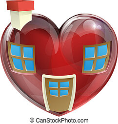 The perfect house concept - A heart shaped house concept,...