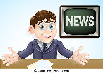 News anchor man - An illustration of a cartoon television...