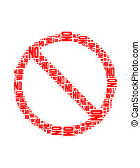 no text collage Composed in the shape of Not Allowed Sign an...