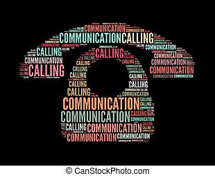 communication calling text collage Composed in the shape of...