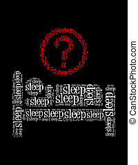 sleep info text collage Composed in the shape of sleep sign