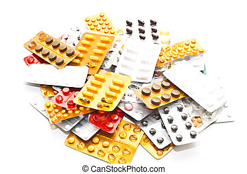 medications on a white background - many drugs on the white...