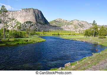 Yellowstone River - mountains in Yellowstone National Park...