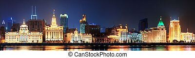 Shanghai historic architecture panorama at night lit by...