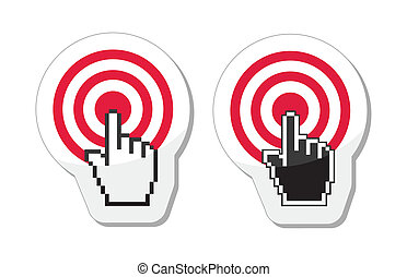 Target with cursor hand vector icon - Red target with...