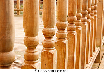 Row of carved Balustrades - row of balustrades on raised...