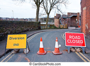 British Road closed and diversion sign - Road closed signs...
