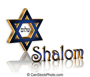 Hanukkah Shalom Jewish Background - 3D Star of David Jewish...
